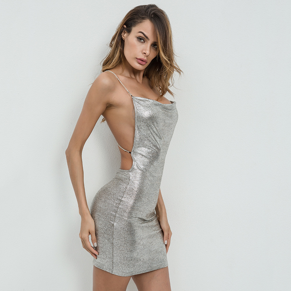 Draped Cowl Neck Dress: Luoanyfash Backless Drape Neck Halter Metallic Dress 2018