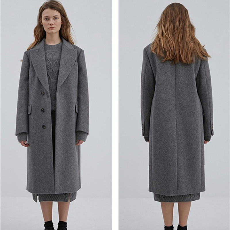 Long Oversize 2xl Manteaux 2018 Gris Mode Manteau D'hiver Vintage Coréenne Femmes Laine Dames APxtFgwaq