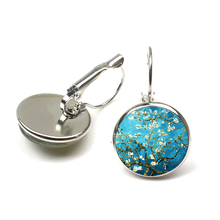 Van Gogh Almond Stud Earrings Branch in Bloom Art Dangle Earring Bridal Jewelry Goghs Painting Glass Cabochon wholesale
