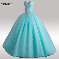Cheap Hot Pink Light Blue Quinceanera Dresses Sweet 16 Ball Gowns Beaded Crystal Sleeveless Vestidos De 15 Anos Debutante Gown