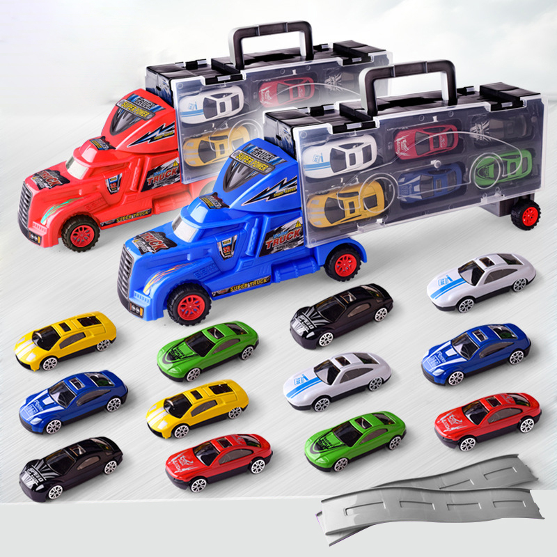 INBEAJY 2018 new high quality cartoon protagonist Metal Alloy Cars 3 Metal Truck <font><b>Hauler</b></font> with 6 Small Cars 3 Toys For Kids image