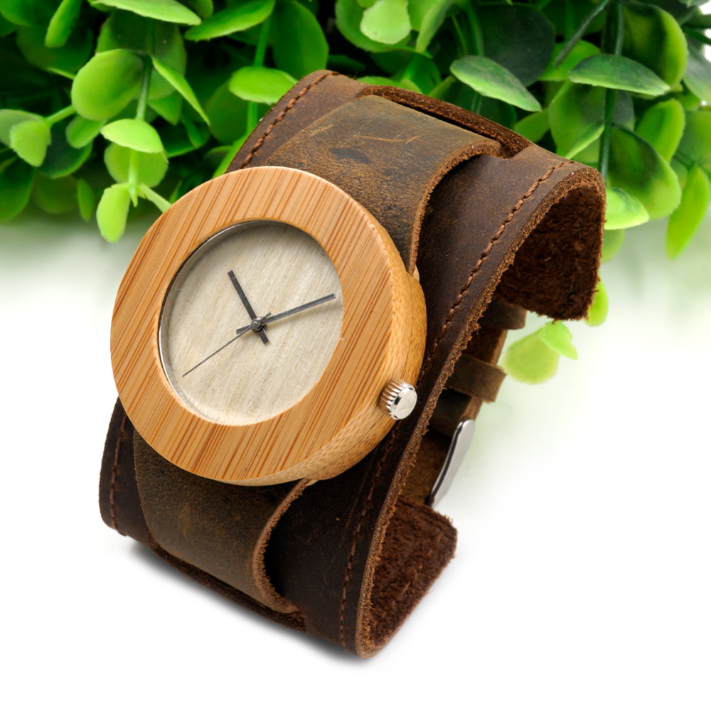 ФОТО BOBO BIRD C04 Womens Top Brand Bamboo Wood Watches Chicago Bracelets Genuine Leather Bands Straps With Gift Box Drop Shipping