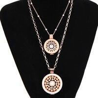 Vinnie Projekt Biżuteria Różowe Złoto Wisiorek Naszyjniki z 2 sztuk Rosario Monety Zestaw Płyt