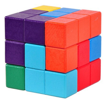Multi-Color 3D Wooden Soma Puslespill Brain Teaser IQ Mind Wood - Puslespill - Bilde 2