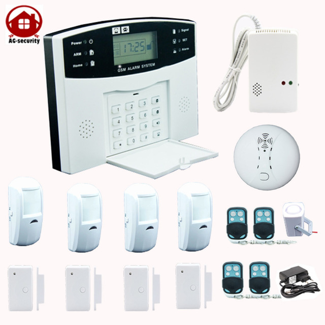 LCD wire wireless gsm sms home house office fire alarm system sim ...