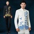 2016 Новый стенд воротник вышивка китайский туника костюм мужской синий и белый певица костюм комплект Жених свадьба вечернее платье Костюм + брюки