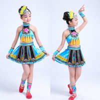 Sequined Girls Hmong Chinese national dance costumes Kids performance miao dancing clothing festival Outfits Tops Skirt with Hat