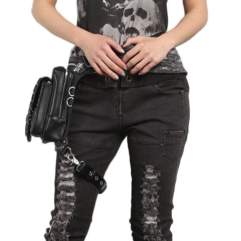 Steampunk kobiety talia nogi torby czaszka nit Messenger torby na ramię Retro Rock Fanny pack Gothic PU Leather kabura spadek torba na biodro w Saszetki od Bagaże i torby na  Grupa 3