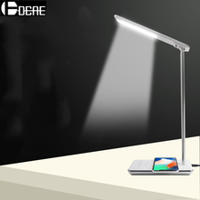 DCAE LED Table Lamp Wireless Charger Foldable Mobile Phone USB Charging For iPhone XS XR X 8 Samsung S9 S8 EU/US/UK Plug Adaptor