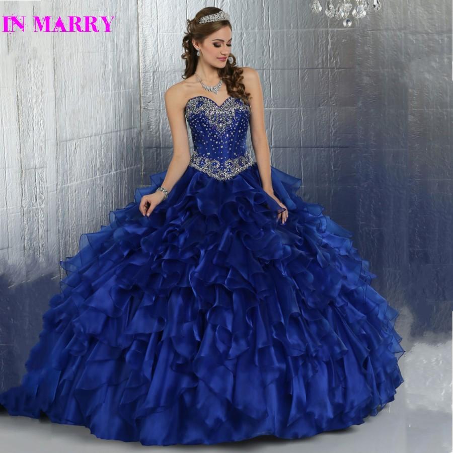 9a2b0bafc8 Hermoso vestido de Bola Que Rebordea Cristales Azul Real Vestidos de  Quinceañera 15 años 2017 de La Colmena Del Organza Del Corsé Volver en  Vestidos de ...