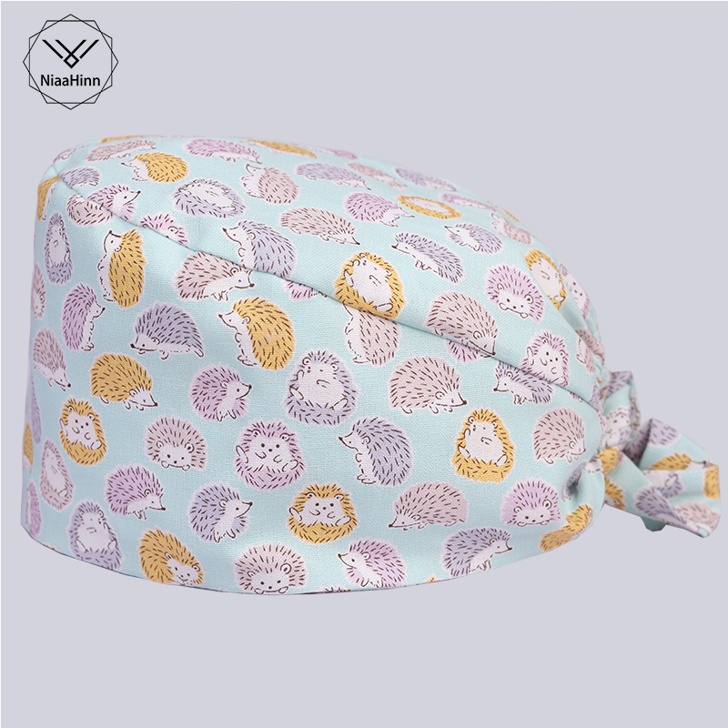 Hedgehog Printing Scrub Mask Women Men Surgical Medical Beauty Salon Cap Nurse And Doctor 100% Cotton Skull Tieback Hats Pet Hat