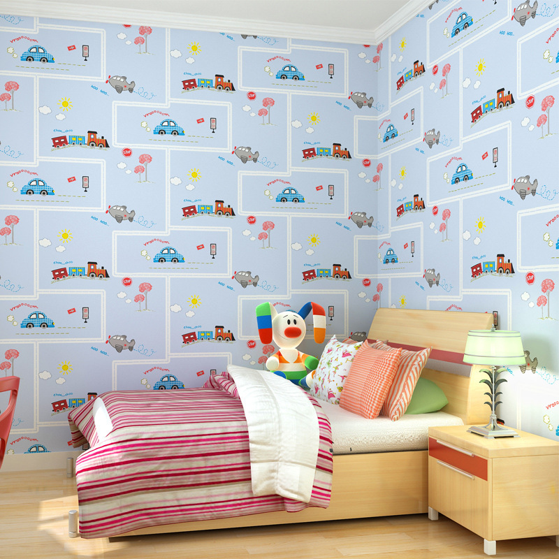 Wallpaper for Kids Room Yellow-Green Red Cartoon Car NonWoven Pattern Wall Papers Home Decor Blue Wall Paper Bedroom Boy'S Room sweet goodnight couple pattern removable decorative wall sticker red blue yellow green