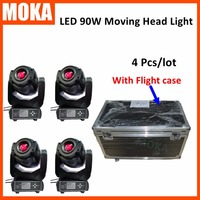 4 Pcs/lot Zoom LED Mini Wash Beam Light spot led moving head light 90w+4 in 1 flight case for DJ Party Night Club Stage
