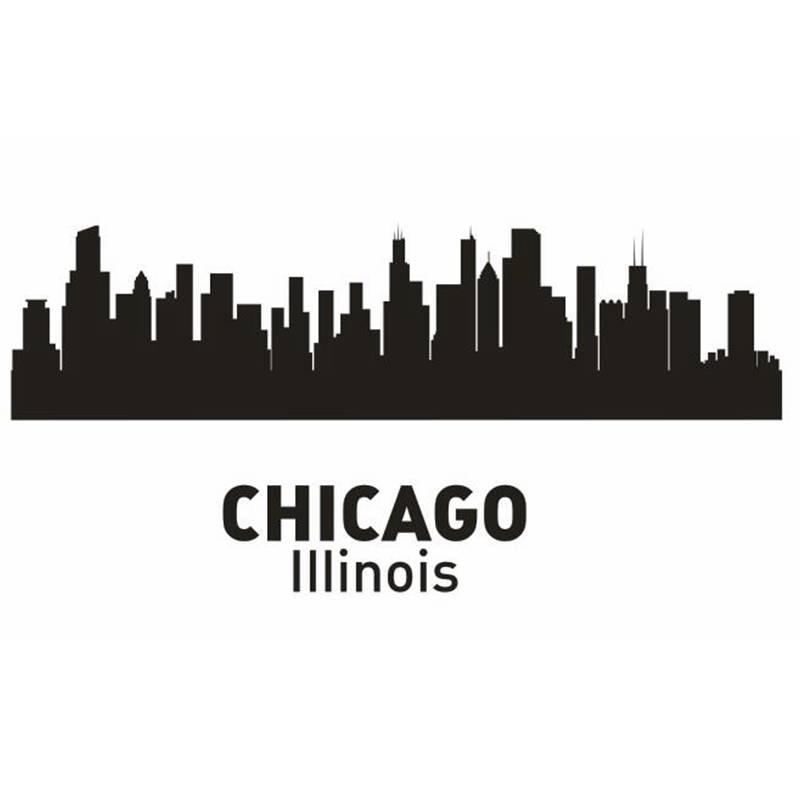 CHICAGO Ville Decal Repère Skyline Stickers Muraux Croquis Stickers Affiche Parede Décor À La Maison Autocollant
