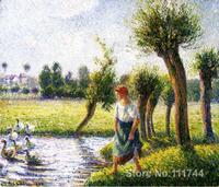 impressionist art Peasant Woman Watching the Geese Camille Pissarro paintings High quality Hand painted