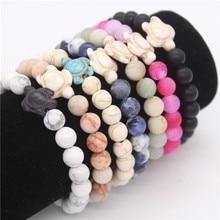 Poshfeel Turtle font b Bracelets b font Bangles 8Mm Natural Stone Bead font b Bracelet b