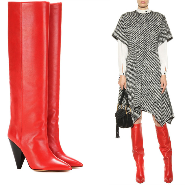 bb6dda8b3b7 2017 New Designer Knee High Boots Black Red Soft Leather Spike High Heels  Long Boots Fall Winter Women Boots Pointed Toe Shoes