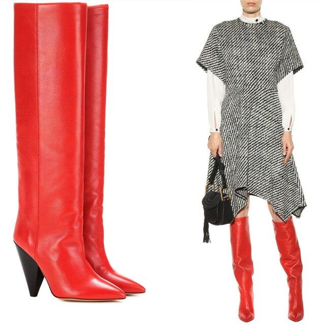 404775d90 € 93.62 25% de réduction|2017 nouveau Designer genou haute bottes  noir/rouge en cuir souple Spike talons hauts bottes longues automne hiver  femmes ...