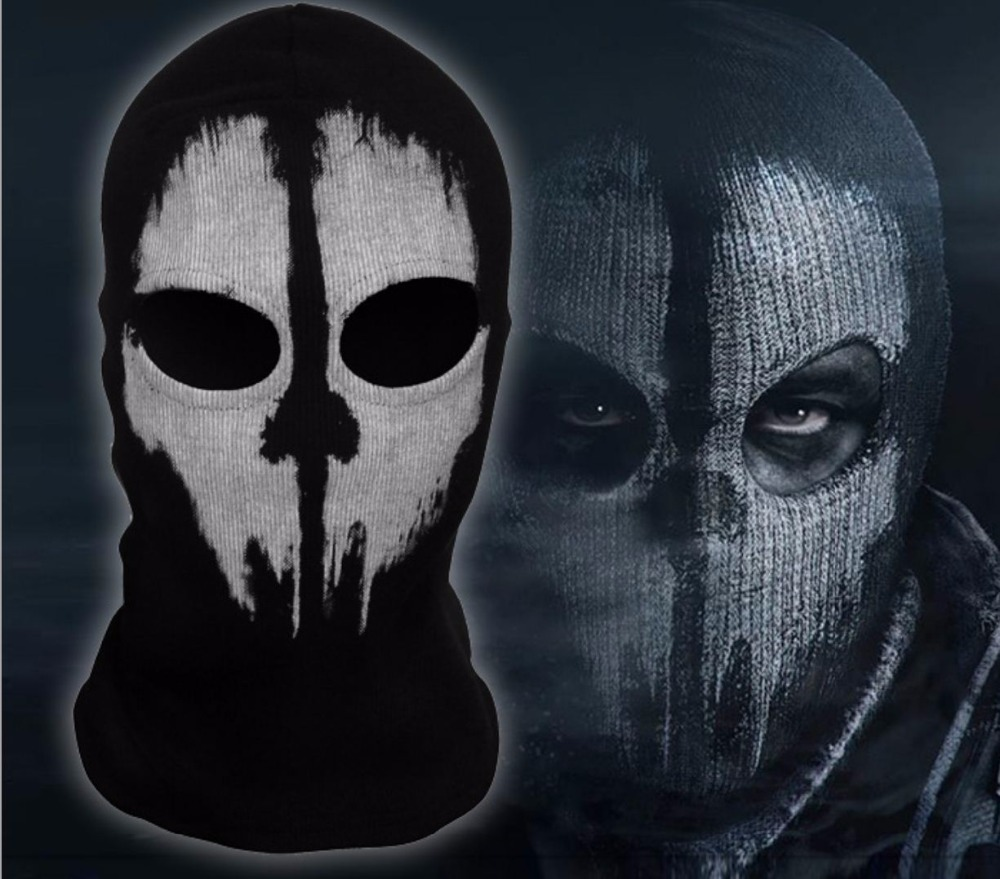 SzBlaZe Brand COD Ghosts Print Cotton Stocking Balaclava Mask   Skullies     Beanies   For Halloween War Game Cosplay CS player Headgear