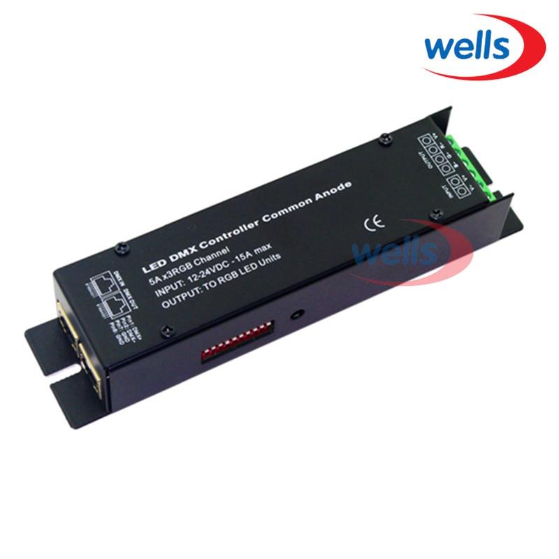 3 CH dmx512 kontrolér, LED DMX RGB kontrolér Common Anode, RJ45,5Ax3RGB, INPUT 12-24VDC, OUTPUT na LED RGB jednotky