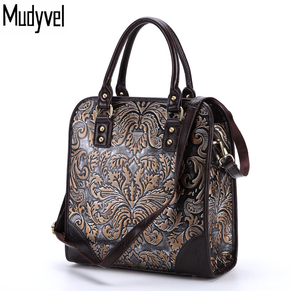 New Vintage Women handbags Natural Cow Women Shoulder bag Rub Color Embossed Genuine Leather Women Messenger Bags women genuine leather handbags ladies personality new head layer cowhide shoulder messenger bags hand rub color female handbags