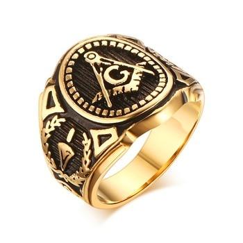 Anillo masónico Vintage para hombre, anillo con el símbolo del masón, banda de joyería Punk Mason de acero inoxidable dorado