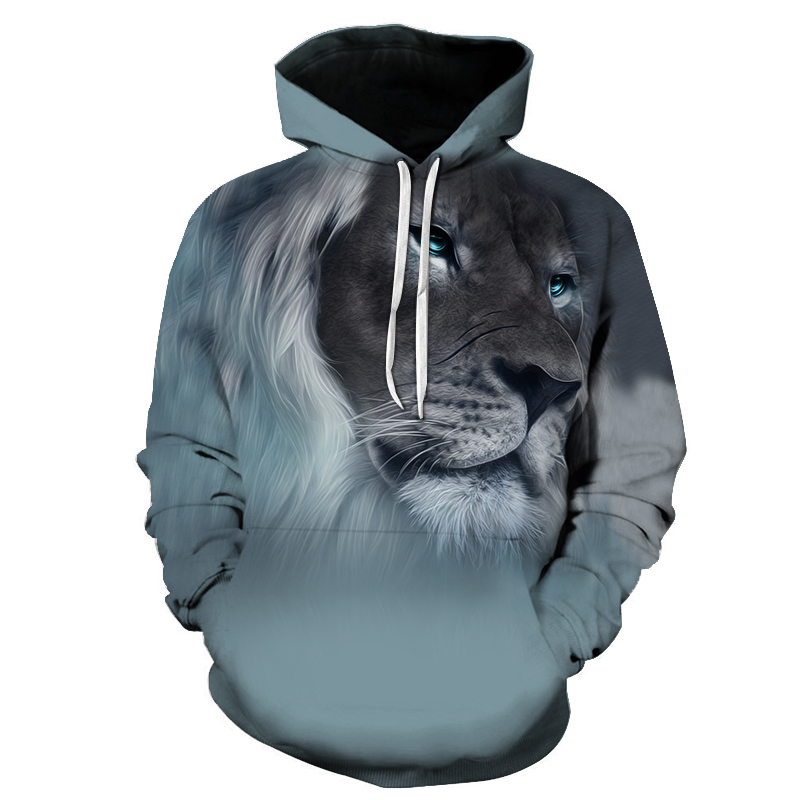 Fashion Lion Ancient Digital Printing Hoodies Women Men Sweatshirts Long Sleeve Men Coat Hooded Streetwear Punk Tracksuit New