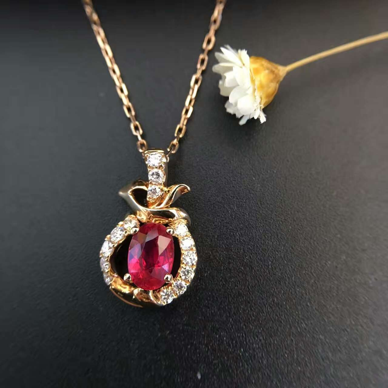18K Gold 0 496ct Natural Ruby and Pendant font b Necklace b font 0 130ct font