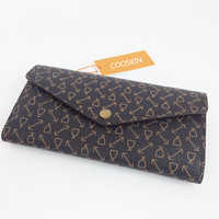 COOSKIN New Fashion Ladies monogram canvas Women's Long Wallets Design Women sarah wallets free shipping