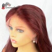 Sunnymay 99J Glueless Full Lace натуральные волосы парики с волосами младенца прямые бразильские виргинские волосы предварительно сорвал