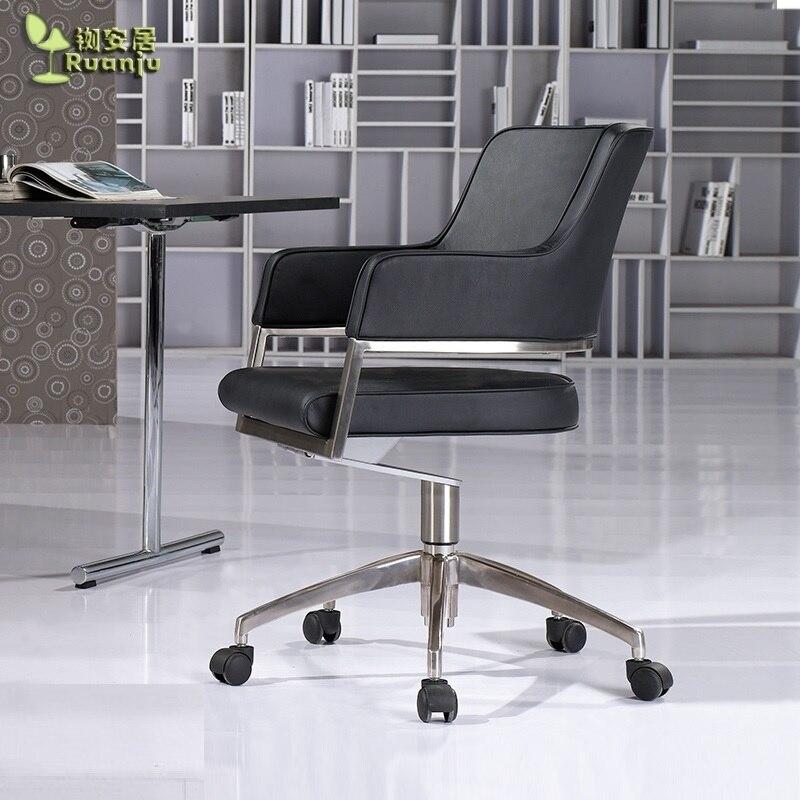 Chaise de bureau pivotante avec revêtement en simili cuir/Design robuste 18 kg avec pieds en aluminium/chaise de bureau polyvalente