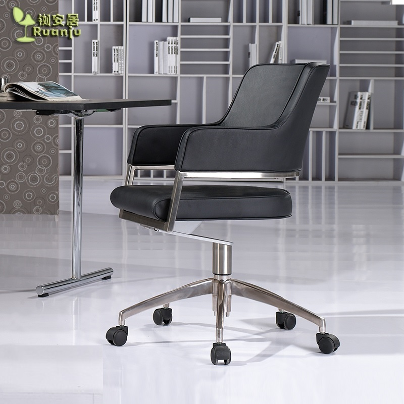 Swivel Office Chair With Faux Leather Upholstery / Sturdy Design 18kg With Aluminum Feet / Versatile Task Chair