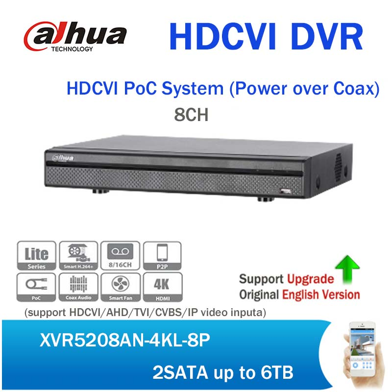Dahua HDCVI PoC System XVR5208AN-4KL-8P H.264 4K 8CH Digital Video Recorder support Power Over Coax upgradable