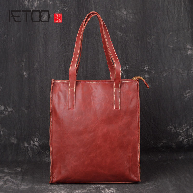 AETOO The first layer of leather handbag shoulder bag European and American fashion trends handmade vertical section shopping ba