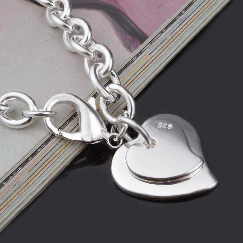 Quyến rũ Đôi Vòng Tay Trái Tim Vòng Đeo Tay & Bangles Cho Phụ Nữ 925 Sterling Bạc Trang Sức Femme Bileklik Pulseira Feminina tình yêu