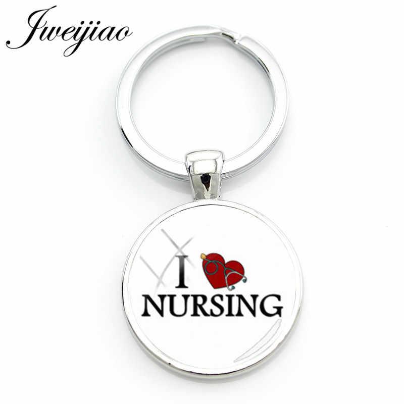 JWEIJIAO Мода I Love медсестер брелок медицинский стетоскоп брелок кольца держатель RN медсестры сумка кулон на заказ SE51