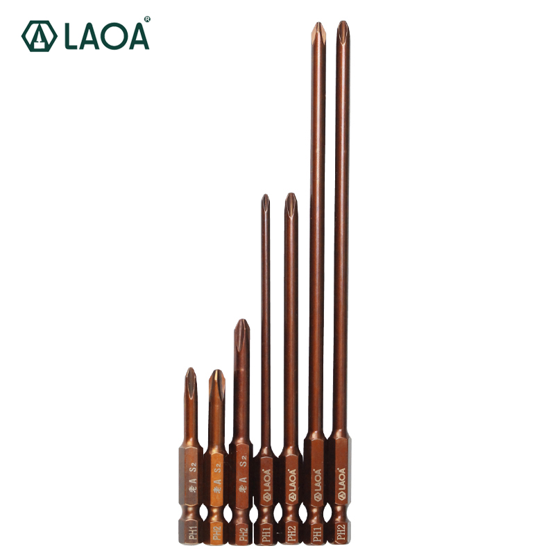 LAOA 2pcs S2 Alloy Steel Screwdriver Bits Ph1 Ph2 Bit For Electric Screwdriver Air Screw Driver Hand Drill With Magnetism