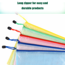 1lot/10pc A4 Waterproof grid Plastic Zipper Paper File Folder Book Pencil Pen Case Bag File document bag office student supplies