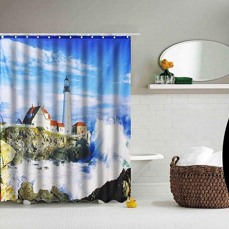 impermeabile faro mare di arte bagno tenda della doccia tenda vasca da bagno sheer per le