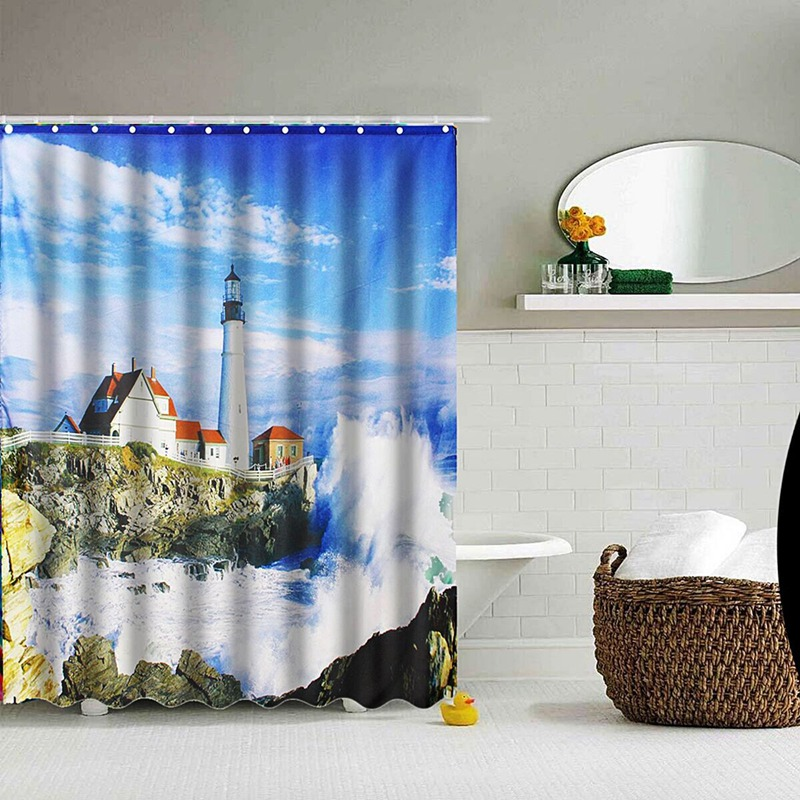 waterproof lighthouse sea art shower curtain tub curtain bath bathing sheer for home decorations with 12