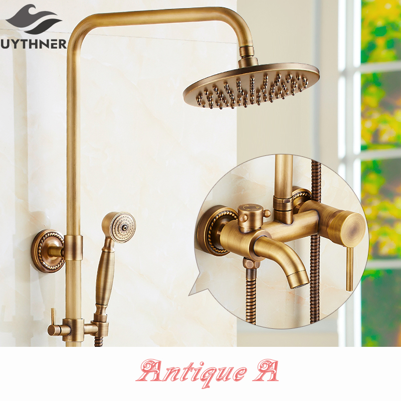 Newly US Free Shipping Retro Antique Brass Shower Faucet Set Rain Round Shower Head W/ Hand Shower Multifunction Shower Tap antique brass rain shower set with bronze basin faucet