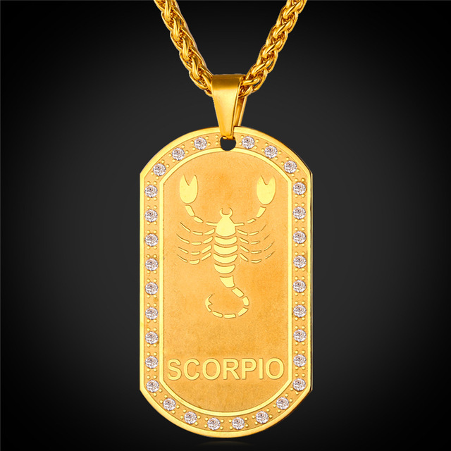 Zodiac sign scorpio pendant necklace women jewelry party gift gold zodiac sign scorpio pendant necklace women jewelry party gift gold color necklace dog tags for men mozeypictures Gallery