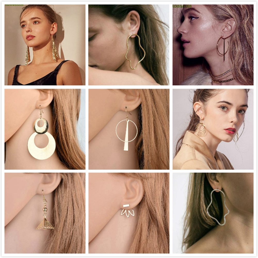 2019 Trendy Simple Design Geometric Earrings Rhinestone Metal Drop Earrings Square Round Hand Star Earrings For Women Girl