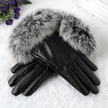 Warm Winter Real Rabbit Fur Soft Comfort PU Leather Women Touch Screen Gloves With Velvet Liner Full  Touch Gloves Red Black