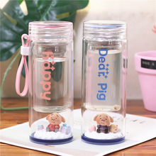 Cute Cartoon Pig Water Bottle Creative Micro Landscape Double Glass Bottom Thick Heat-resistant Cups Student Tea