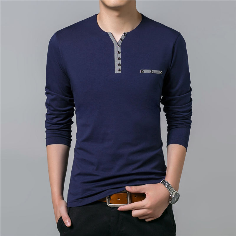 HTB1Vz3ePpXXXXa.XXXXq6xXFXXXk - COODRONY Cotton T Shirt Men 2018 Spring Autumn New Long Sleeve T-Shirt Men Henry Collar Tee Shirt Men Fashion Casual Tops 7617