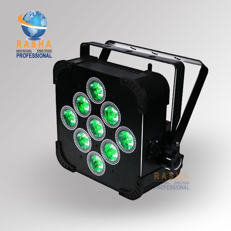 Rasha New Arrival 9pcs*18W 6in1 RGBAW+UV Battery Powered Wireless LED Flat Par Light With IR Remote Control Stage LED Par Light