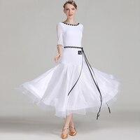 Ballroom Dance Dress White Nylon Ice Silk Woman Standard Dancing Dresses Waltz Practice Performance Wear Led Costume DNV10223