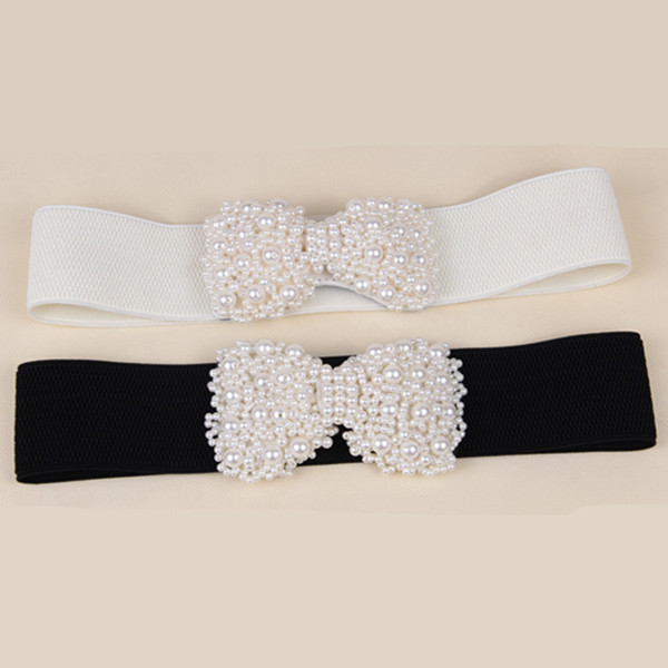 2016 New Fashion Dress Accessories Beige and Black Colors Elastic Belts Charm Pearl Bow Belt Buckle Cinto For Women