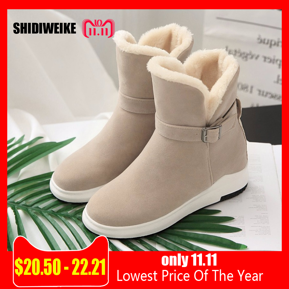 Women Half Boots Winter Short Boot Warm Shoe Flat Botas Mujer Snow Boots  Buckle Fashion Round Toe Shoes Boots n026. В избранное. gallery image fefe414eefcc
